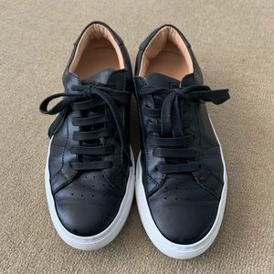 Black leather tennis shoes.